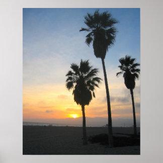 Venice Beach California Sunset Souvenir Poster