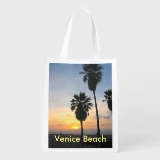Venice Beach California Sunset Souvenir Reusable Grocery Bag