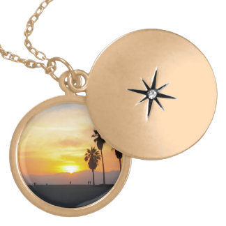 Venice Beach California Sunset Souvenir Round Locket Necklace