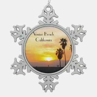 Venice Beach California Sunset Souvenir Snowflake Pewter Christmas Ornament