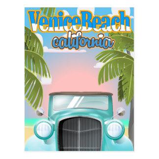 Venice Beach california vintage poster. Postcard