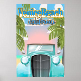 Venice Beach california vintage poster. Poster