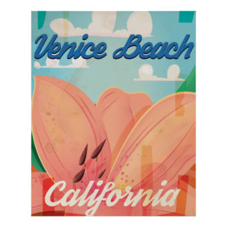 Venice Beach California Vintage Travel Poster
