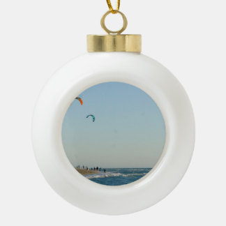 Venice Beach Kite Surfers Ceramic Ball Christmas Ornament