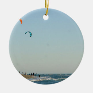 Venice Beach Kite Surfers Ceramic Ornament