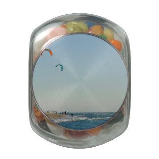 Venice Beach Kite Surfers Glass Candy Jars