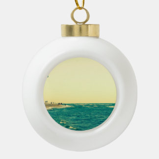 Venice Beach Kite Surfing 2 Ceramic Ball Christmas Ornament