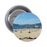 Venice Beach Looking North On With The Santa Monic 2 Inch Round Button
