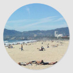 Venice Beach Looking North On With The Santa Monic Round Sticker