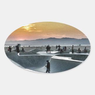 Venice Beach Skateboard Park Oval Sticker