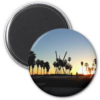 Venice Beach Sunset 2 Inch Round Magnet