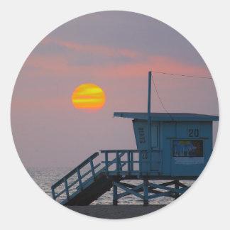 Venice Beach Sunset Classic Round Sticker