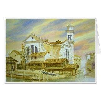 Venice boatyard watercolor painting greeting card