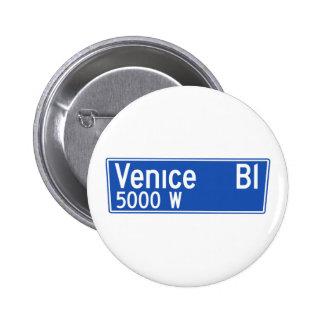 Venice Boulevard, Los Angeles, CA Street Sign Pinback Button