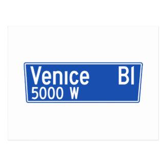 Venice Boulevard, Los Angeles, CA Street Sign Postcard