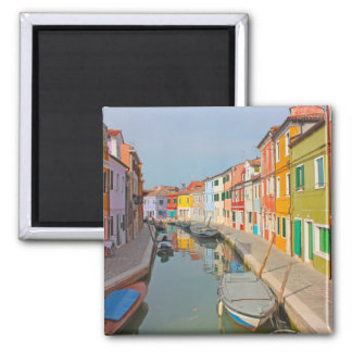Venice, Burano island canal, small colored houses 2 Inch Square Magnet