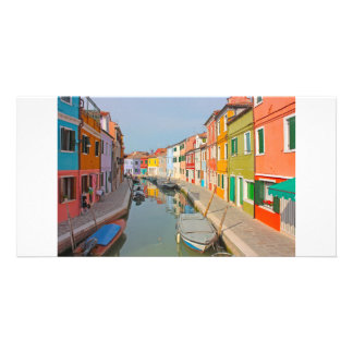 Venice, Burano island canal, small colored houses Card