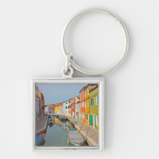 Venice, Burano island canal, small colored houses Silver-Colored Square Keychain