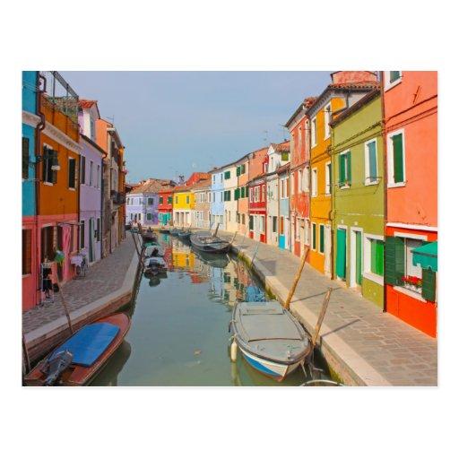 Venice, Burano island canal, small colored houses Postcard