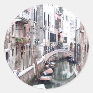 Venice canal classic round sticker
