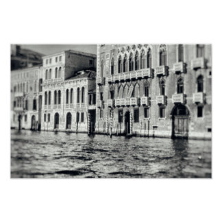 Venice Canal Waterway Italy Black & White Building Poster