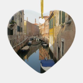 Venice Canal with Boats Ceramic Ornament