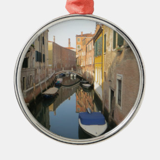 Venice Canal with Boats Metal Ornament