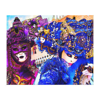Venice Carnival Colorful Traditional Masks Drawing Canvas Print