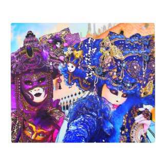 Venice Carnival Colorful Traditional Masks Drawing Metal Print