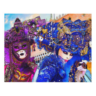 Venice Carnival Colorful Traditional Masks Drawing Panel Wall Art