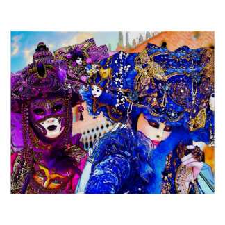 Venice Carnival Colorful Traditional Masks Drawing Poster
