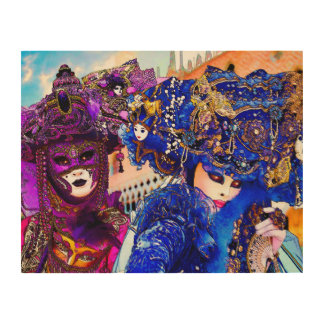 Venice Carnival Colorful Traditional Masks Drawing Wood Print