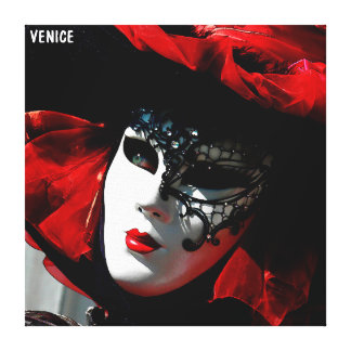 Venice Carnival Colorful Traditional Red Mask Canvas Print