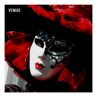 Venice Carnival Colorful Traditional Red Mask Poster