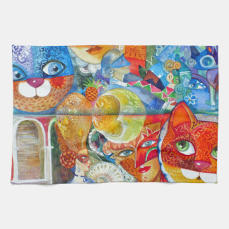 Venice cats carnaval kitchen towels