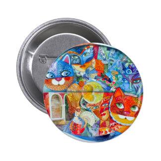 Venice cats carnaval pinback button