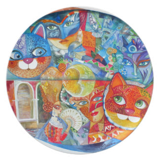 Venice cats carnaval party plate