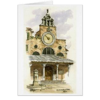 Venice Clock Rialto - Watercolor greeting card. Greeting Card