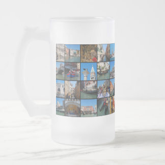 Venice collage frosted glass beer mug