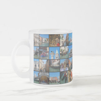 Venice collage frosted glass coffee mug