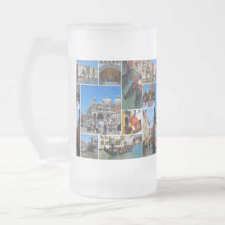 Venice collage frosted beer mugs