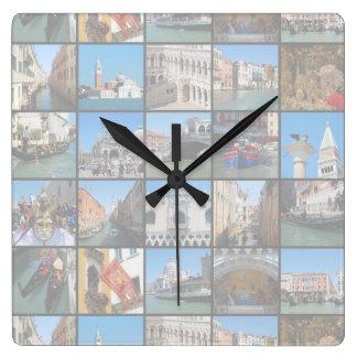 Venice collage square wallclocks