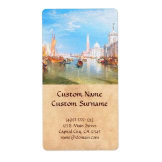 Venice, Dogano and Santa Maria della Salute art Label