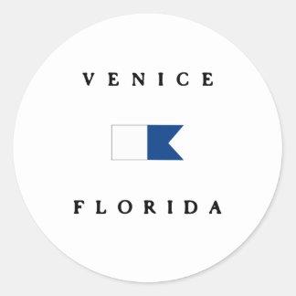 Venice Florida Alpha Dive Flag Round Sticker