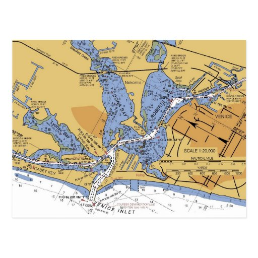 Venice, Florida nautical Harbor chart Postcard
