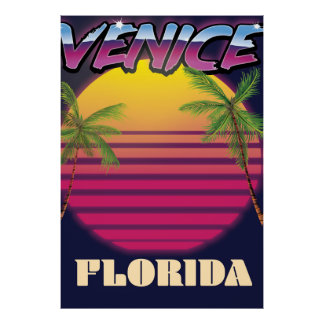 Venice Florida retro vacation poster