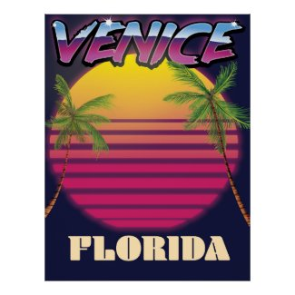 Venice Florida retro vacation poster