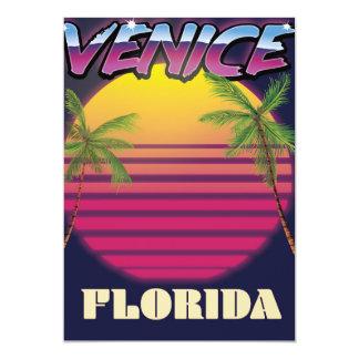 Venice Florida retro vacation poster Card