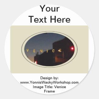 Venice Frame Classic Round Sticker