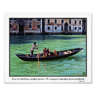 Venice Gandola & Canal with Love Quote Photo Print